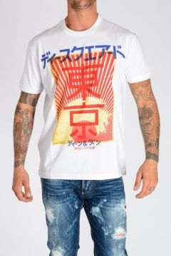 T-shirt in Jersey di Cotone con Stampa