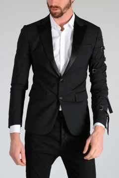 Stretch Virgin Wool Tuxedo Blazer