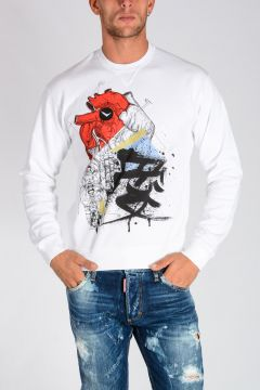 SKETCH HEART Printed Cotton Jersey Sweatshirt