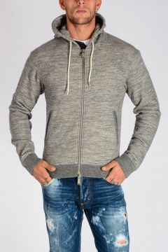 Zip Front Cotton and Wool Jersey Hoodie