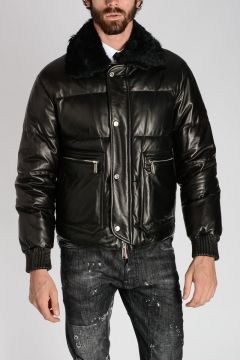 Fur Collar Leather Down Jacket