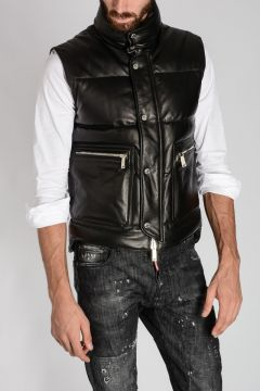 Leather Sleeveless Down Jacket