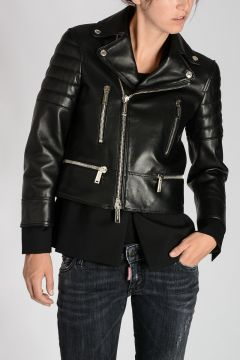 Giacca Biker in Pelle e Lana Stretch