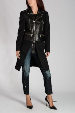 Leather & Stretch Wool Coat