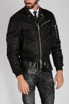 Leather Trimmings Bomber Jacket
