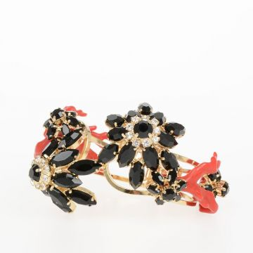 Brass Bracelet with Coral and Crystal