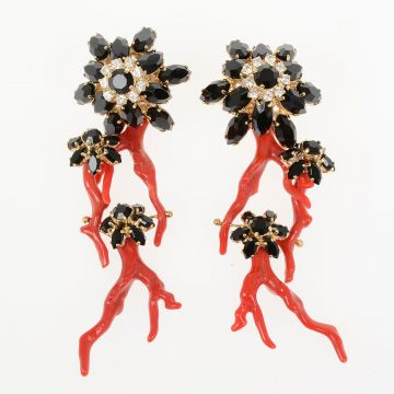 Earrings with Coral and Crystal