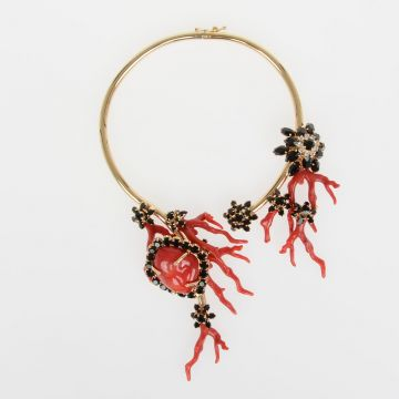 Necklace with Coral and Crystal