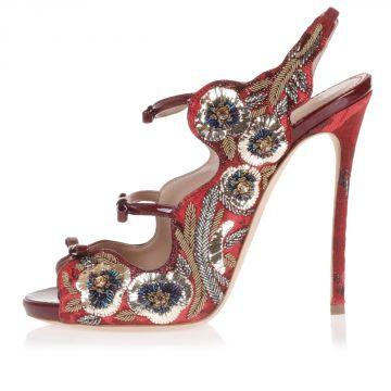 Sandalo in Pelle Ricamato 12 cm