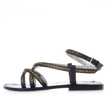 Leather Flat Sandals with Studs