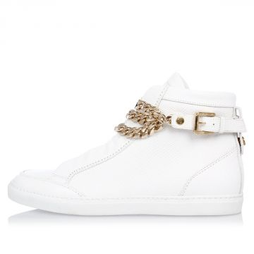 Leather Sneakers with Gold Tone Chain