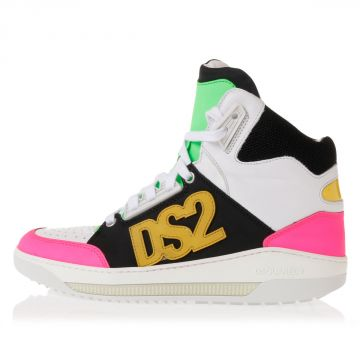 Leather high top Sneakers with Fluo Details