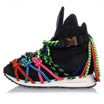 Sneakers Alte in Pelle con Lacci Tecnici