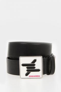 30mm Leather Belt with Logo Buckle