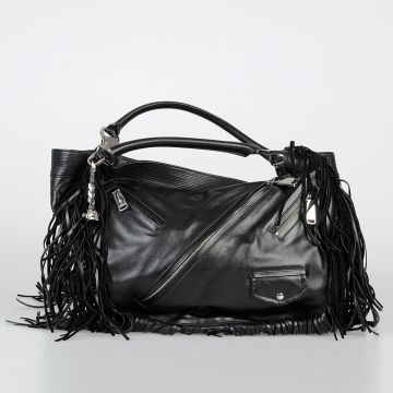 Fringed Leather Hobo Bag