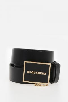 30mm Leather Belt With Gold Tone Logo