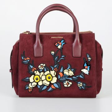 Suede Handbag with Floral Patchwork