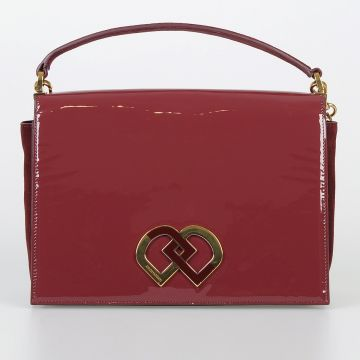 Suede & Patent Leather Shoulder Bag