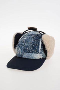 Nylon Hat with Fur & Denim Details