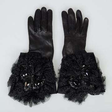 Leather Gloves with Lace & Crystals