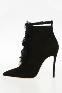 Leather VICTORIAN ankle Boots Jewel Embroidery