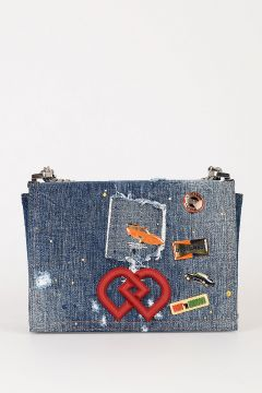 Denim Shoulder Bag with Patches