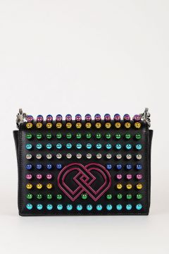Leather Shoulder Bag with Colored Studs