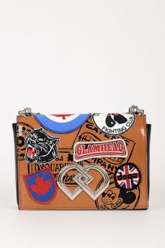 Leather Shoulder Bag with Patches