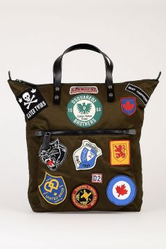Borsa Shopping in Tessuto con Patch