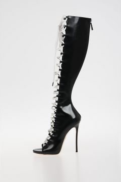 GLAM BIKER Leather opened Boots