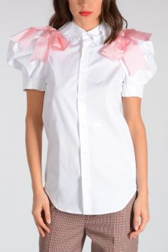 Cotton Blouse With Pink Bow