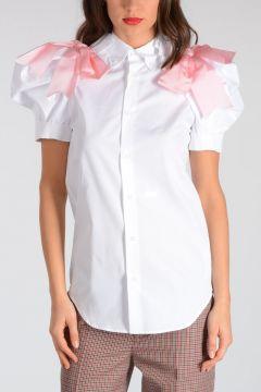 Camicia in Cotone con Fiocco Rosa