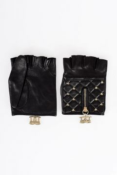 Studded Leather Fingerless Gloves