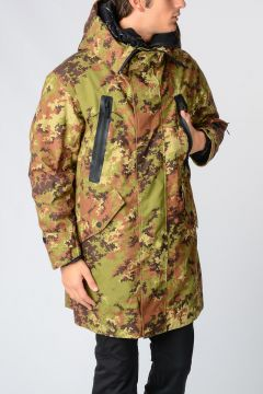 Nylon Camouflage Print Jacket with Down Jacket