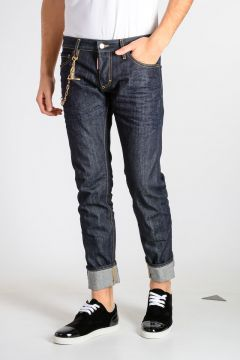 Jeans SLIM in Denim con Catena 17 cm