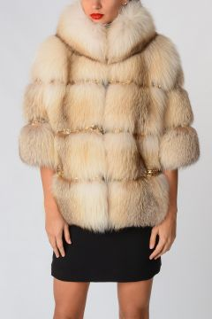 Fox Real Fur Jacket With Jewel Embroidery