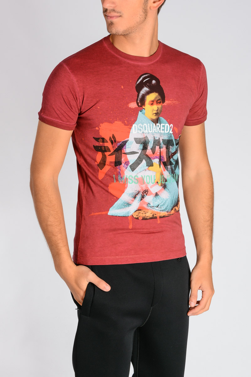 aca092eb87e Dsquared2 Men Printed Cotton Jersey T-shirt - Glamood Outlet
