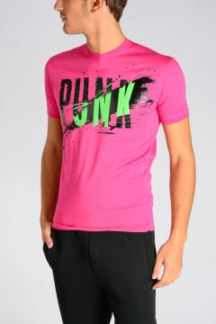 T-shirt con Stampa PUNK in Jersey di Cotone