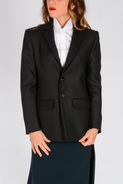 Silk and Virgin Wool Asymmetric Cut Blazer