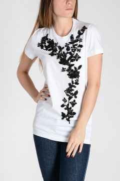 T-Shirt in Cotone con Strass e Paillettes