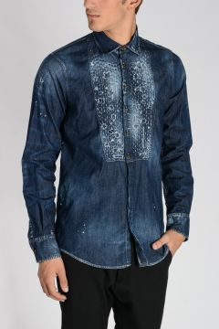 Camicia in Denim Stretch Distressed