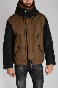Hooded Padded Jacket with Fur Collar