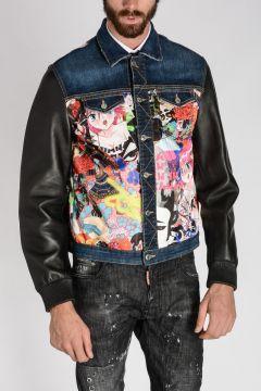 Leather Sleeves Denim Jacket
