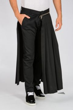 Zipper Pleated Half-Skirt Pants