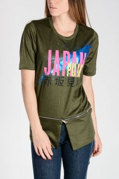 T-Shirt in Lana con Stampa JAPAN PUNK