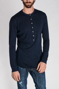 Virgin Wool Henley Sweater