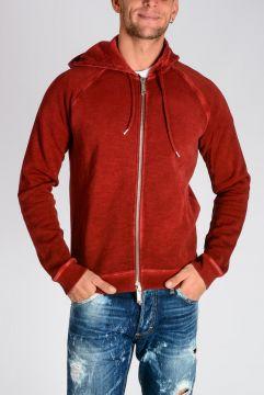 Zip Front Cotton Jersey Hoodie