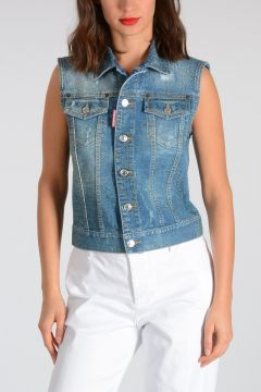 Gilet In Denim Glitter