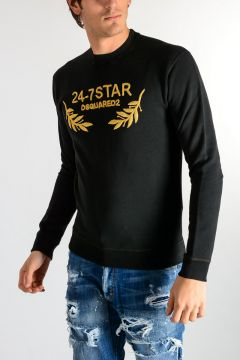 Sweatshirt With Gold Tone Embrodery