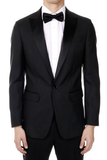 Tuxedo Blazer in Virgin Wool and Silk